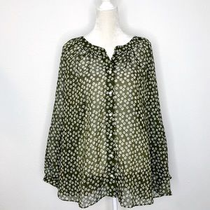 Lane Bryant Floral Sheer Olive White Blouse 22/24